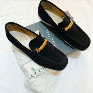 Gucci Black Suede Bamboo Loafers